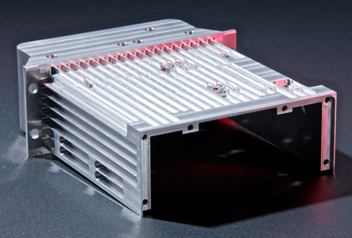 Electronic control box component for the aerospace industry
